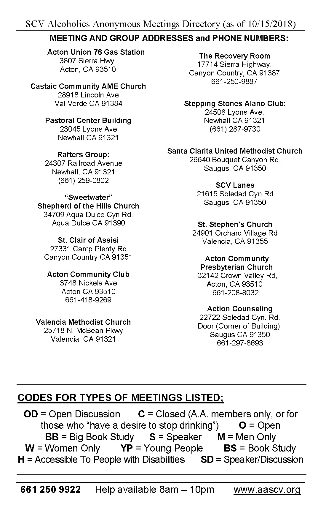 SCV AA Meetings Directory